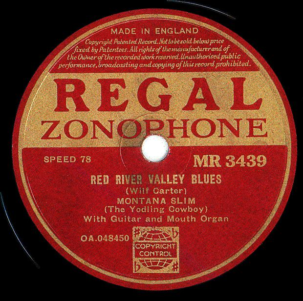 Regal Zonophone MR-3439 78rpm record, Montana Slim, Red River Valley Blues