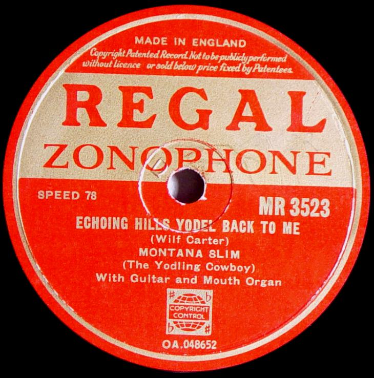 Regal Zonophone MR-3523 78rpm record, Montana Slim, Echoing Hills Yodel Back to Me