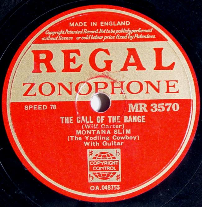 Regal Zonophone MR-3570 78rpm record, Montana Slim, The Call of the Range