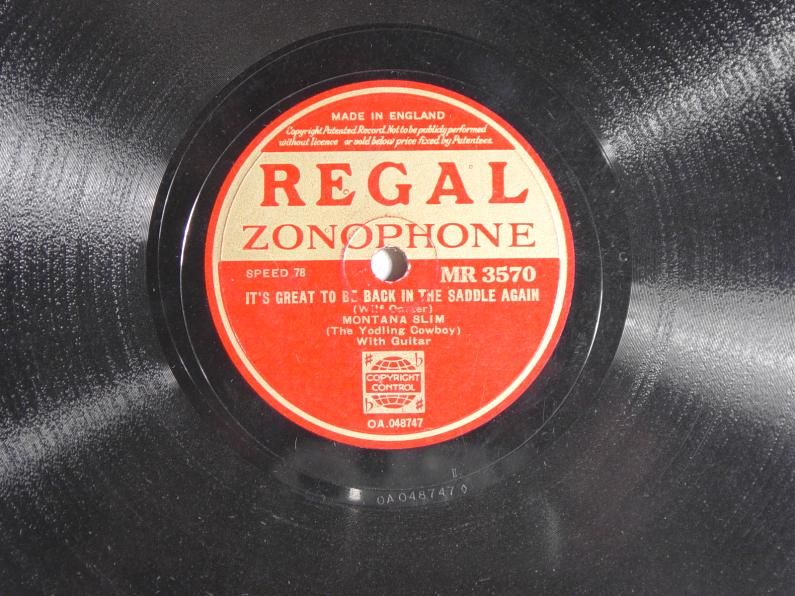 Regal Zonophone MR-3570 78rpm record, Montana Slim