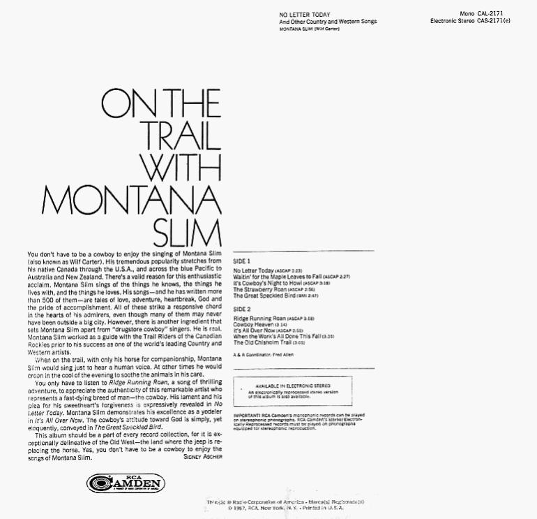 Jacket back: Montana Slim record (United States blue label) 33rpm LP Camden CAS-2171(e)