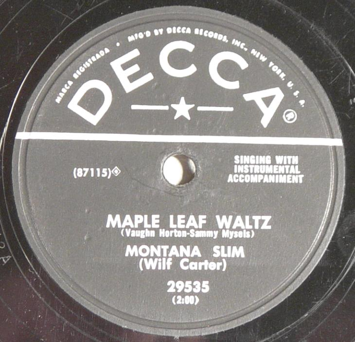 Montana Slim, Decca 29535 78rpm record, Maple Leaf Waltz