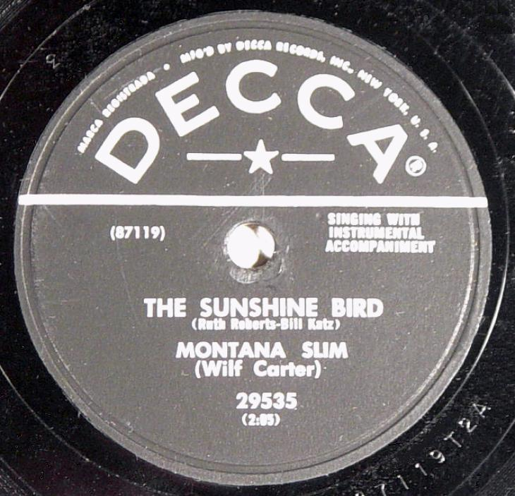 Montana Slim, Decca 29535 78rpm record, The Sunshine Bird
