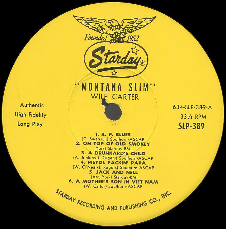 Montana Slim record 33rpm LP Starday SLP-389 side one