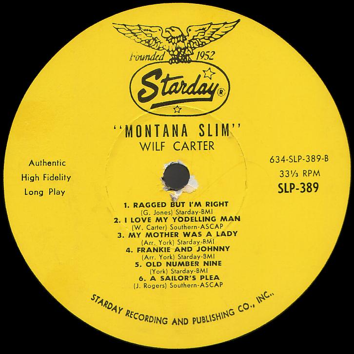 Montana Slim record 33rpm LP Starday SLP-389 side two