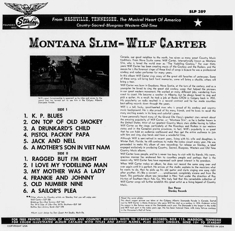 Jacket back: Montana Slim record 33rpm LP Starday SLP-389