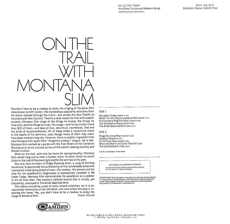 Jacket back: Montana Slim record (United States green label) 33rpm LP Camden CAS-2171(e)