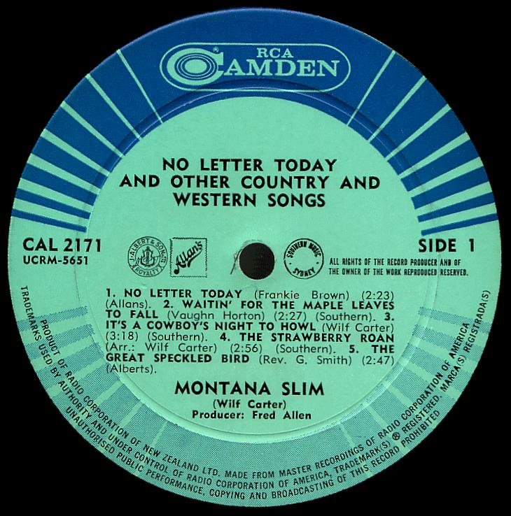 Montana Slim record (New Zealand) 33rpm LP Camden CAL-2171 side one