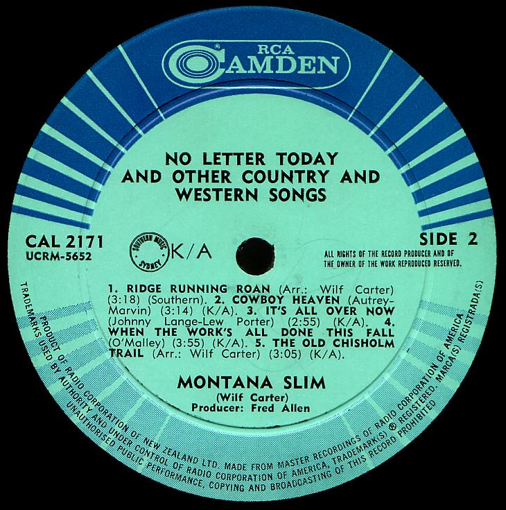 Montana Slim record (New Zealand) 33rpm LP Camden CAL-2171 side two