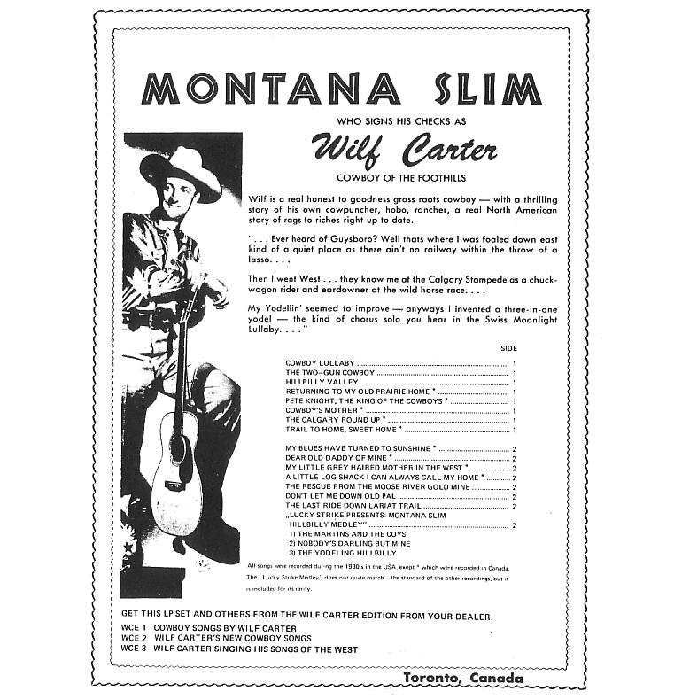 Jacket back: Montana Slim record 33rpm LP Wilf Carter Edition WCE-3