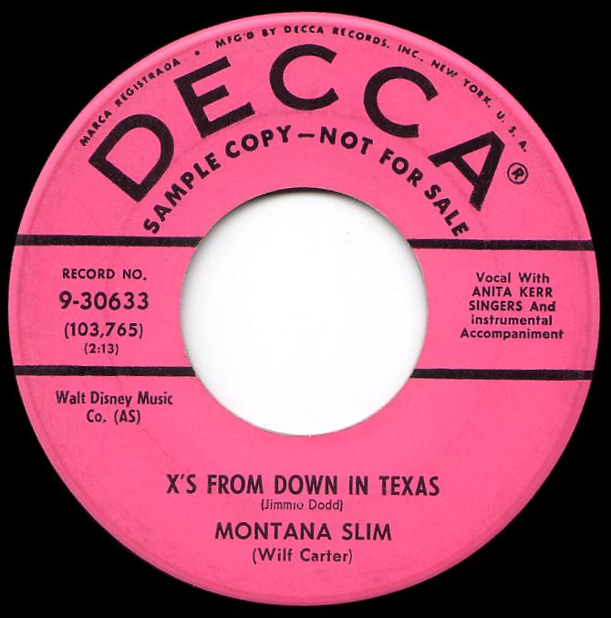 Montana Slim 45rpm record, X's from Down In Texas, Decca 9-30633