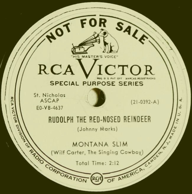 Montana Slim RCA Victor 21-0392 78rpm record: side A label