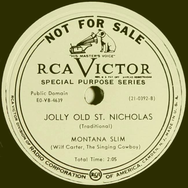Montana Slim RCA Victor 21-0392 78rpm record: side B label