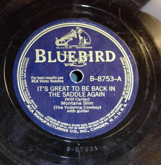 RCA Victor Bluebird B-8753 78rpm record, Montana Slim,  It's Great To Be Back In The Saddle Again