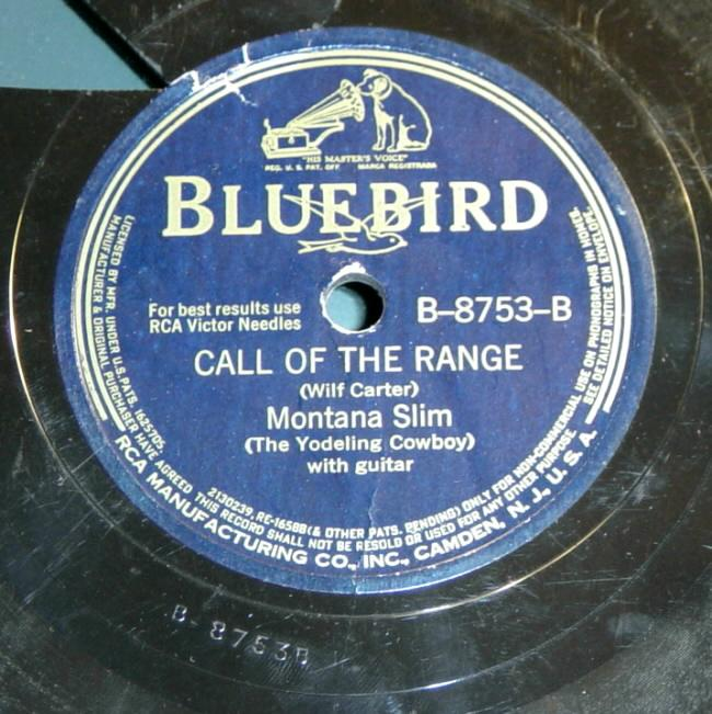 RCA Victor Bluebird B-8753 78rpm record, Montana Slim, Call Of The Range