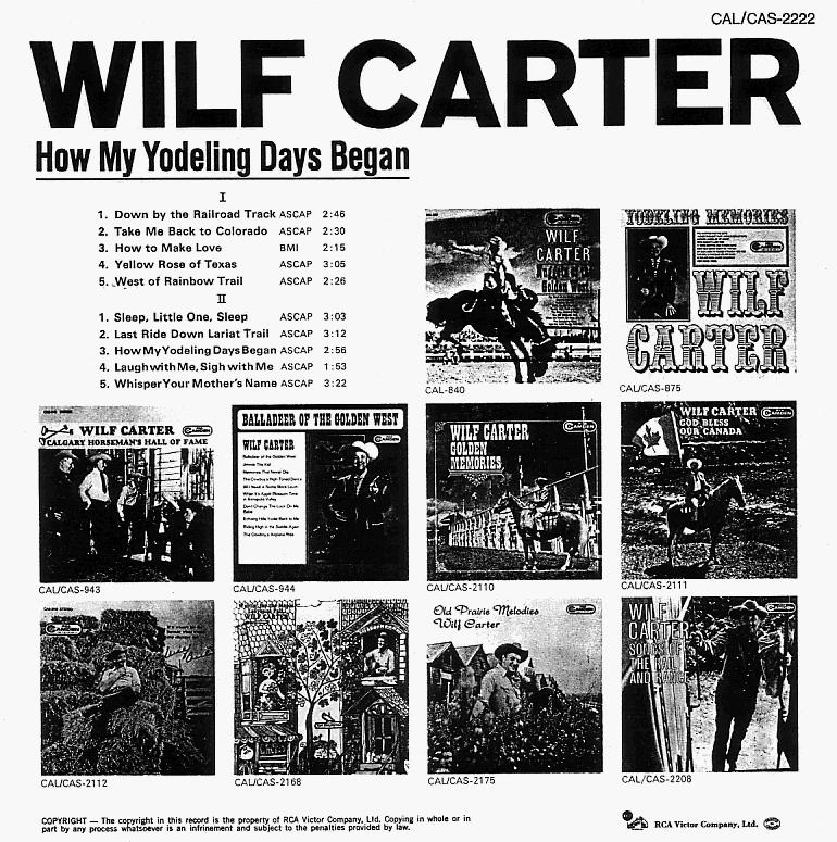 Jacket back: Wilf Carter record (Canada) 33rpm LP RCA Camden CAL-2222