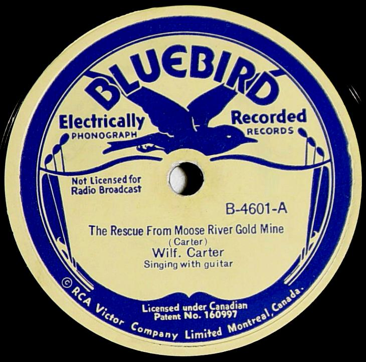 Wilf Carter RCA Victor Bluebird B-4601 78rpm record: side A label