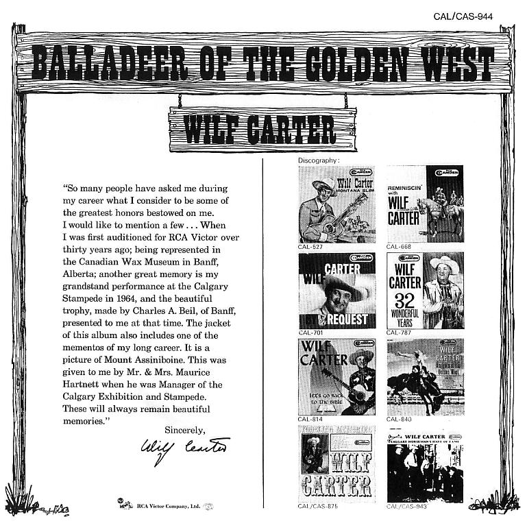 Jacket back: Wilf Carter record Balladeer of the Golden West (Canada)  33rpm LP RCA Camden CAL-944