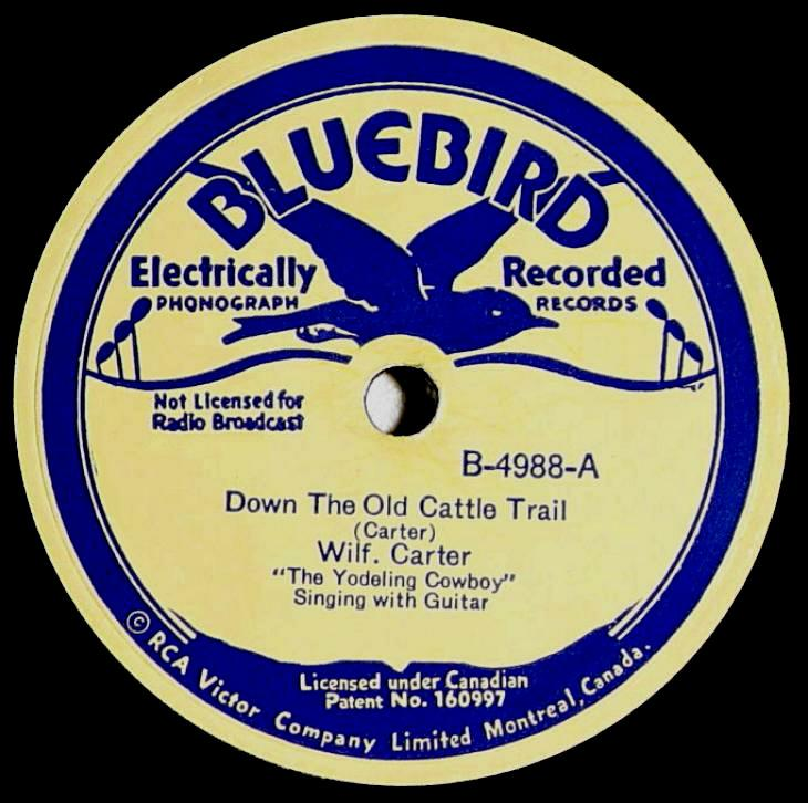 Wilf Carter RCA Bluebird B-4988 78rpm record: side A label
