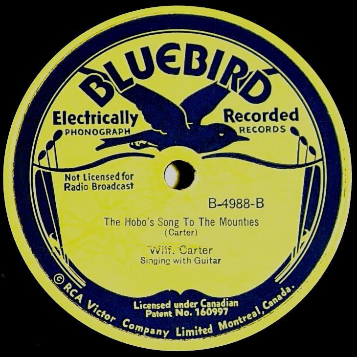 Wilf Carter RCA Bluebird B-4988 78rpm record: side B label