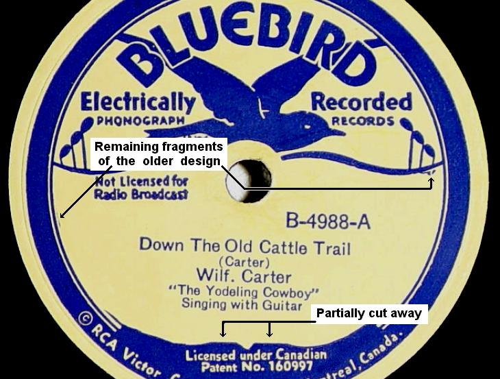 Wilf Carter RCA Bluebird B-4988 78rpm record: Converting the old label design to the new