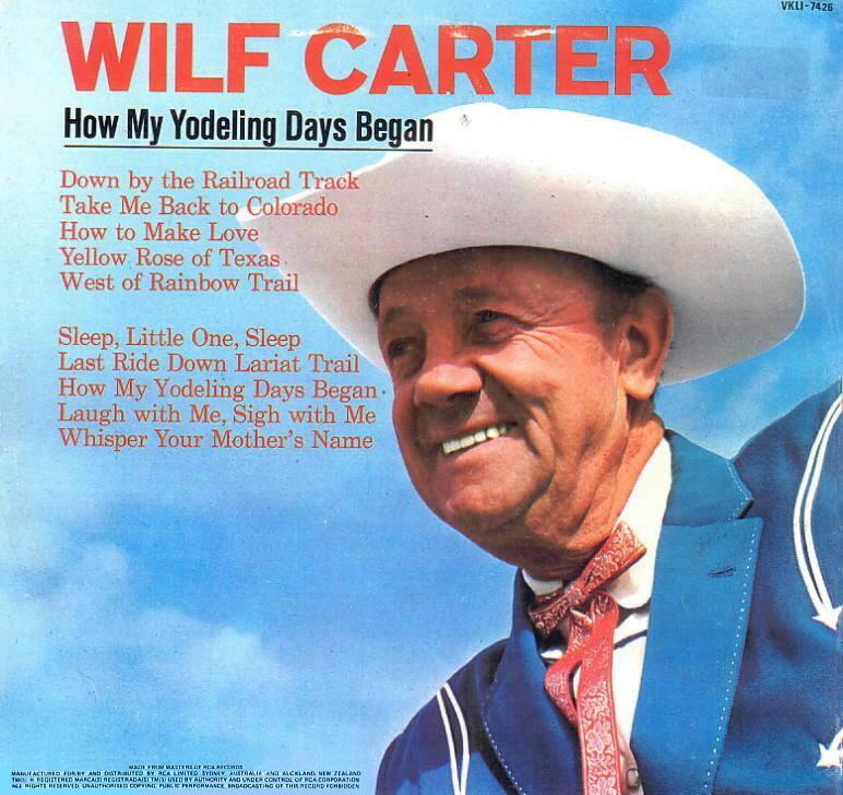 Jacket back: Wilf Carter record (New Zealand) 33rpm LP RCA VKLI-7426