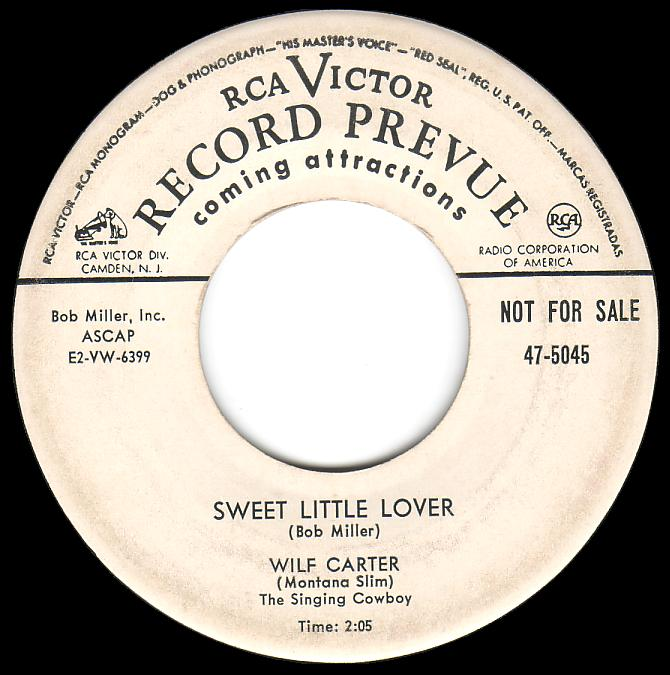 Wilf Carter 45rpm record (DJ Preview), Sweet Little Lover, monophonic, RCA Victor 47-5045