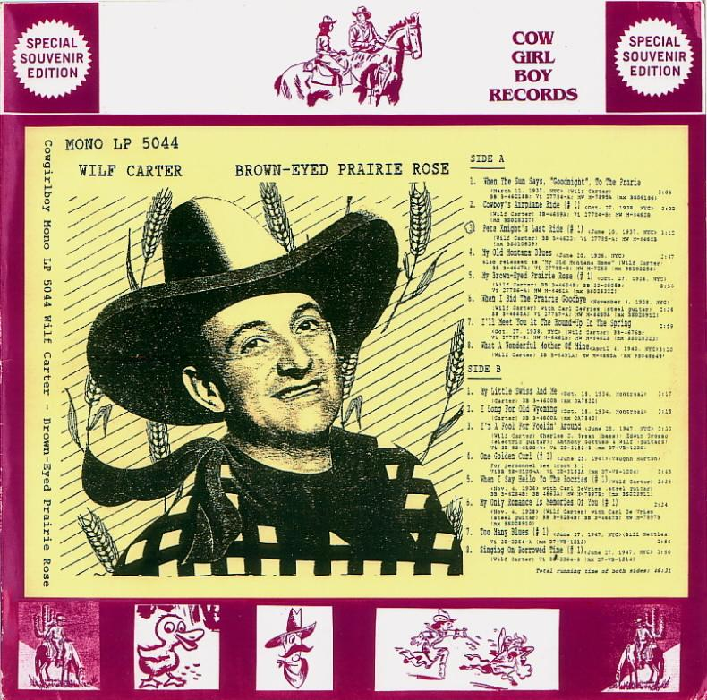Jacket front: Wilf Carter record 33rpm LP Cowgirlboy 5044