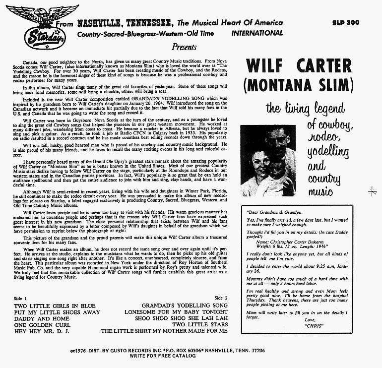 Jacket back: Wilf Carter record 33rpm LP Gusto (Starday) SLP-300