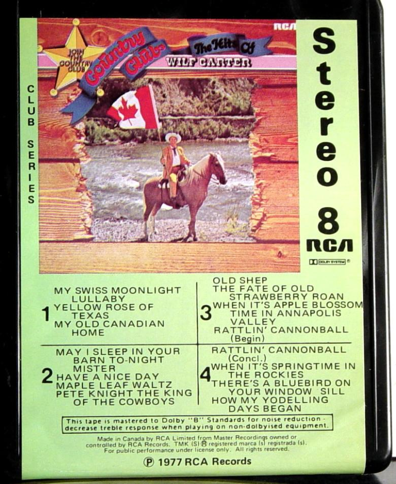Label: RCA 8-track tape cassette, The Hits of Wilf Carter