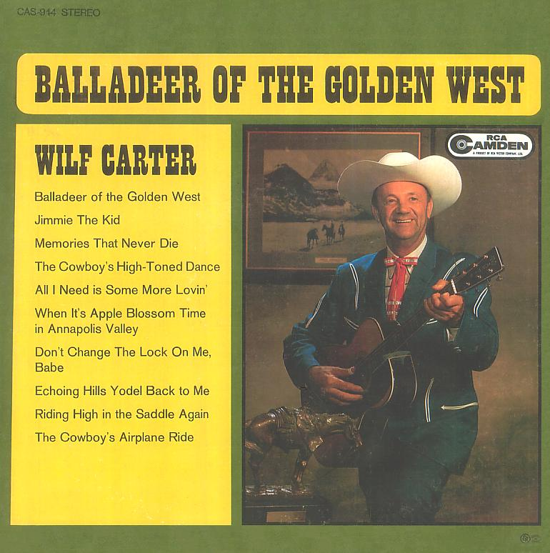 Jacket front: Wilf Carter record (Canada blue label) 33rpm LP RCA Camden CAS-944