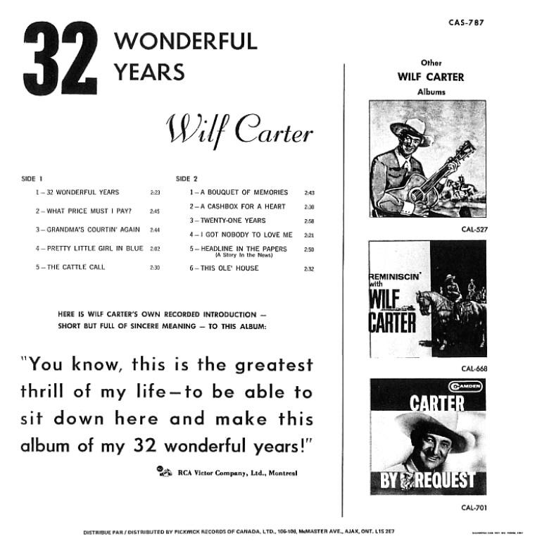 Jacket back: Wilf Carter record (Canada) 33rpm LP Pickwick CAS-787