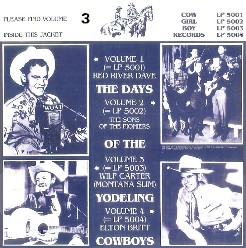 Jacket front: Wilf Carter record 33rpm LP Cowgirlboy 5003