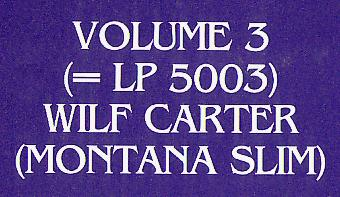 Jacket detail: Identification of the LP in this jacket as volume 3, meaning 5003