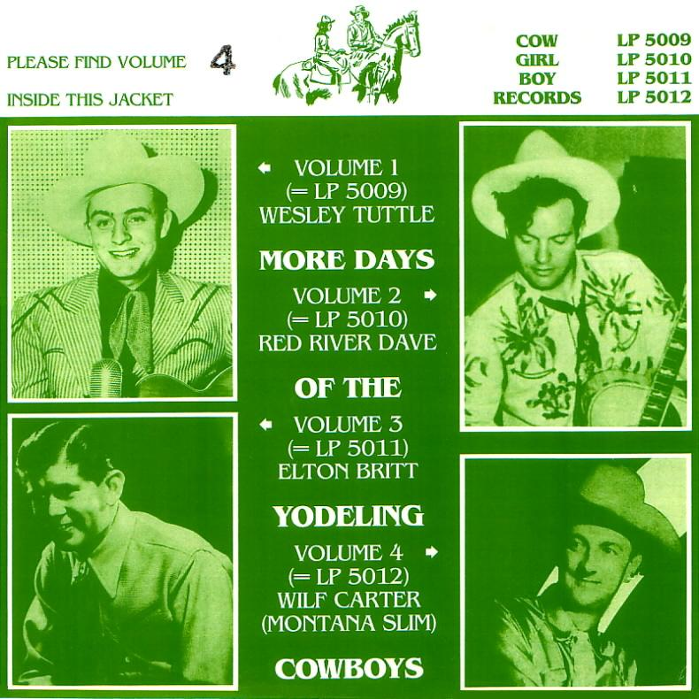 Jacket front: Wilf Carter record 33rpm LP Cowgirlboy 5012