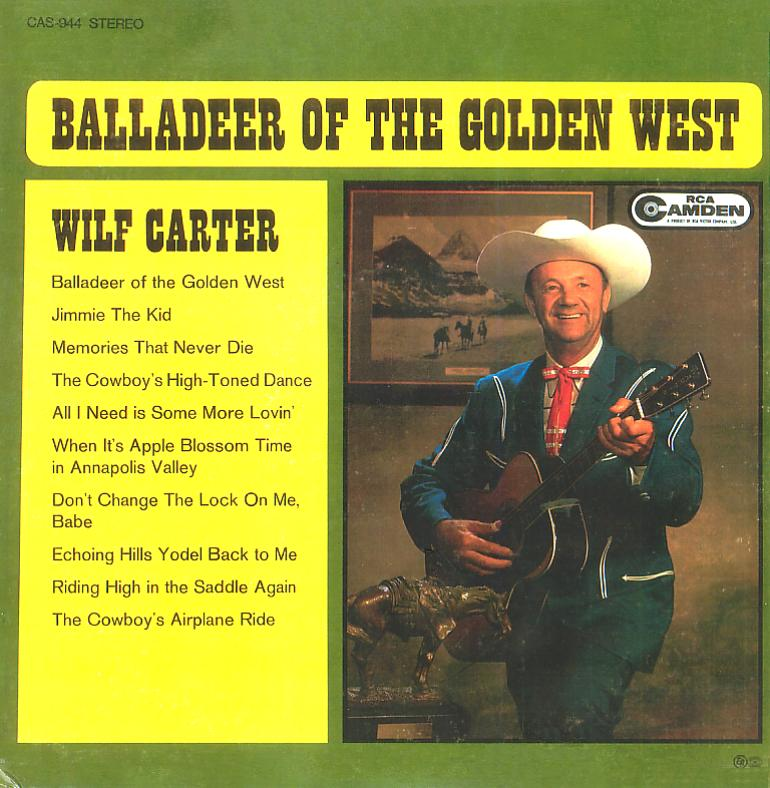 Jacket front: Wilf Carter record (Canada green label) 33rpm LP RCA Camden CAS-944
