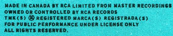 Wilf Carter record: RCA Limited, Canada