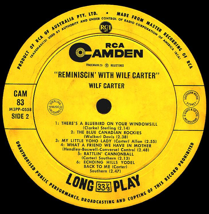 Wilf Carter record (Australia) 33rpm LP Camden CAM-83 side two