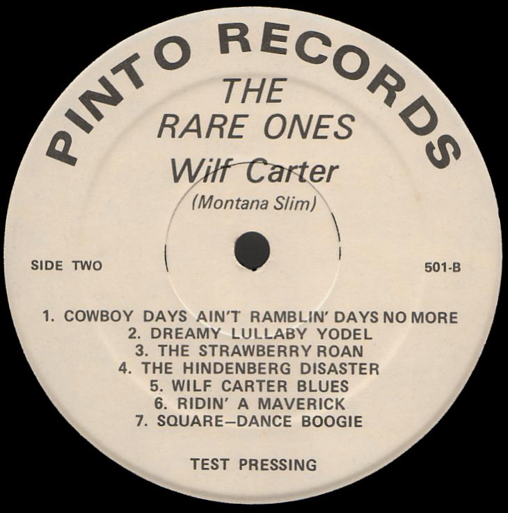Wilf Carter record 33rpm LP Pinto WC-501 side two label